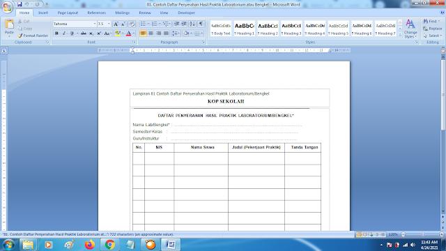 Contoh Format Daftar Penyerahan Hasil Praktik Laboratorium/Bengkel Terbaru