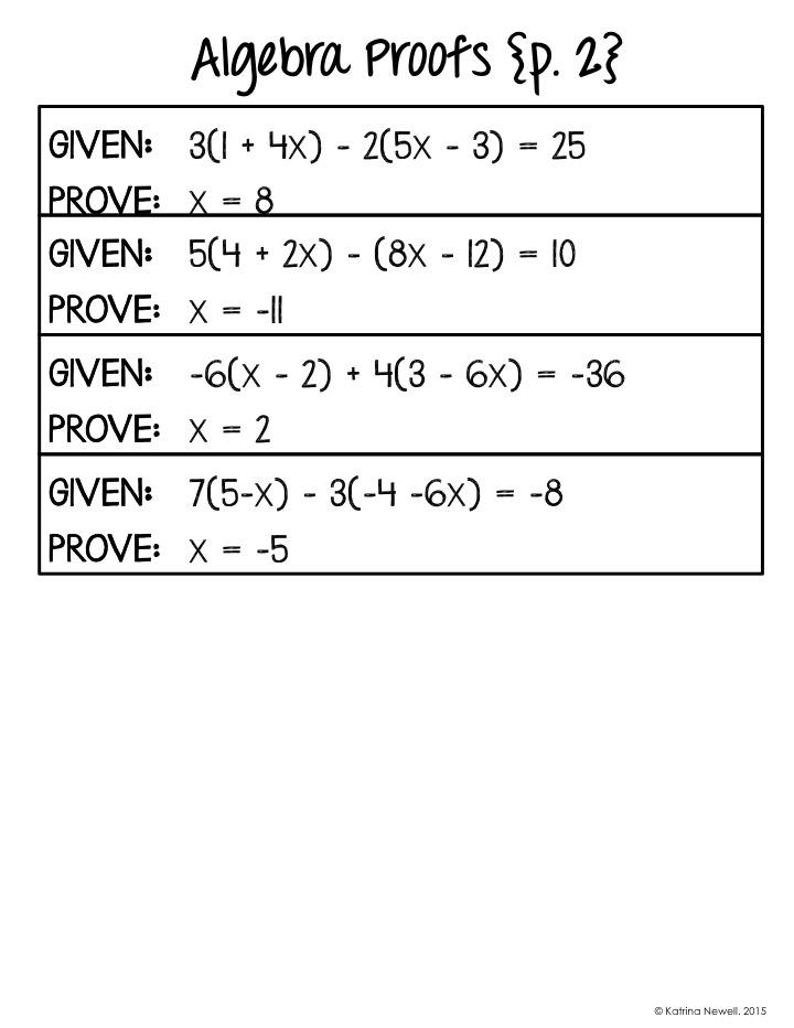 Algebra Proofs Book Mrs Newells Math – Algebraic Proofs Worksheet