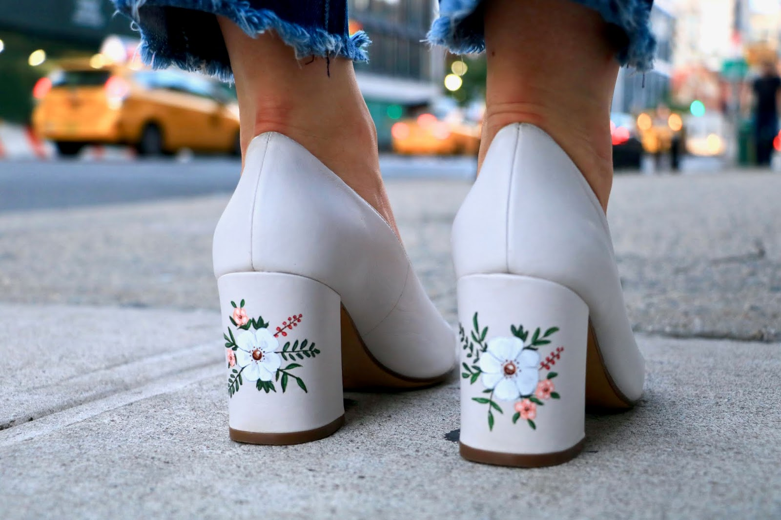 Nyc fashion blogger Kathleen Harper wearing hand-painted heels from Naturalizer.
