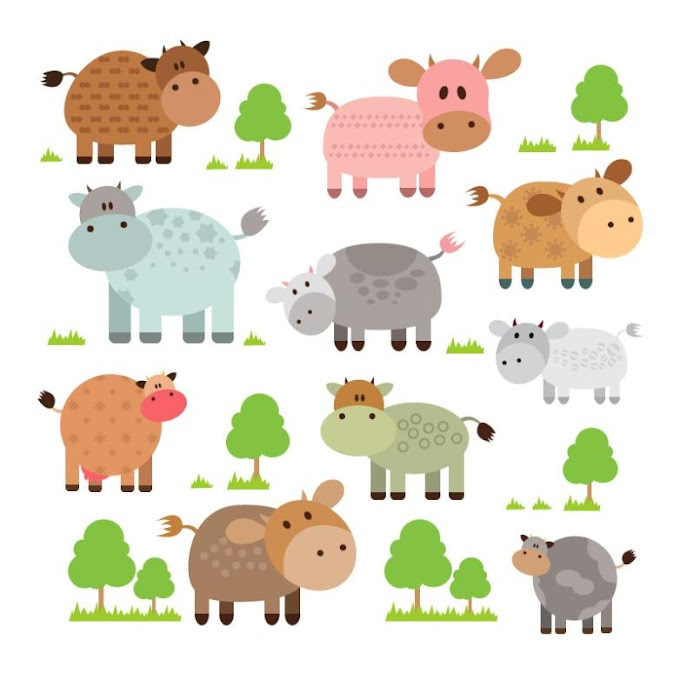 10 Cartoon Cows And Trees Free Vector