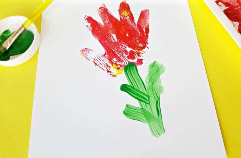 handprint flower painting idea