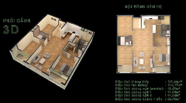 Căn F (11-12) - 107,35m2 Tòa CT-04