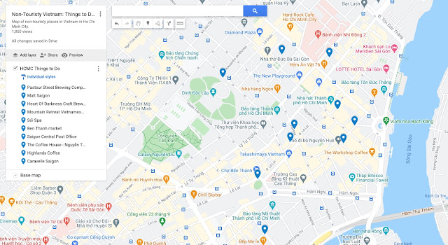 Map of Non-touristy things to do in HCMC Vietnam