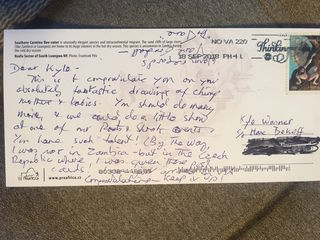A postcard from Jane Goodall to a student in Marc Bekoff's inspirational class with inmates at the Boulder County Jail
