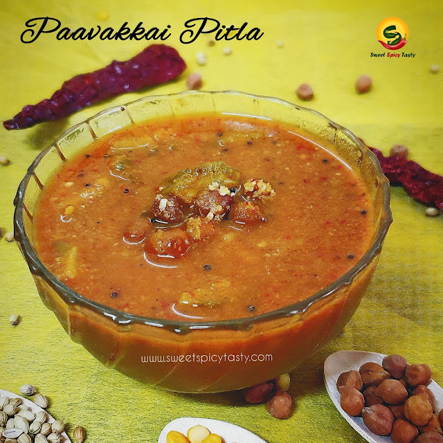 Paavakkai Pitlai / pagarkkai Pitla is one of the unique and traditional recipes from the kitchens of Tamil Nadu. Pitla , Pitlai, bittergourd pitlai , paavakkai pitlai , pagarkai pitlai , pahakkai putlai , pitlai