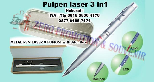 Barang Promosi Pulpen Laser 3 in 1 Kotak Kayu, Pen Laser 3 in 1 Box Kaleng