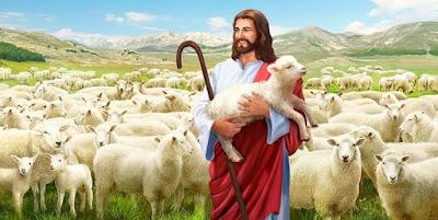 imagem de Jesus com ovelha nos braços
