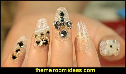 rhinestones fake nails lace nail decals  nail art - lace themed nails - Lace Nail Stickers - lace nail wraps - cute nails - nail art design ideas - themed nail decals - cute nail decals - cute nail stickers -