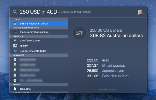 نظام التشغيل MacOS Spotlight ابحث عن تحويل العملات.