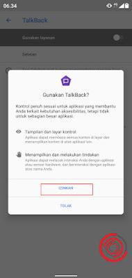 4. Terakhir konfirmasi pengaktifan TalkBack dengan menekan Izinkan