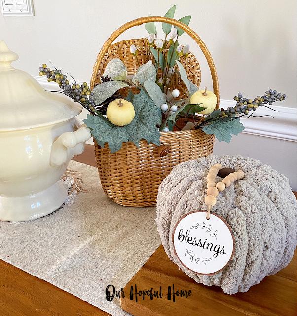 Nantucket lidded basket fall faux flowers gray chunky yarn pumpkin