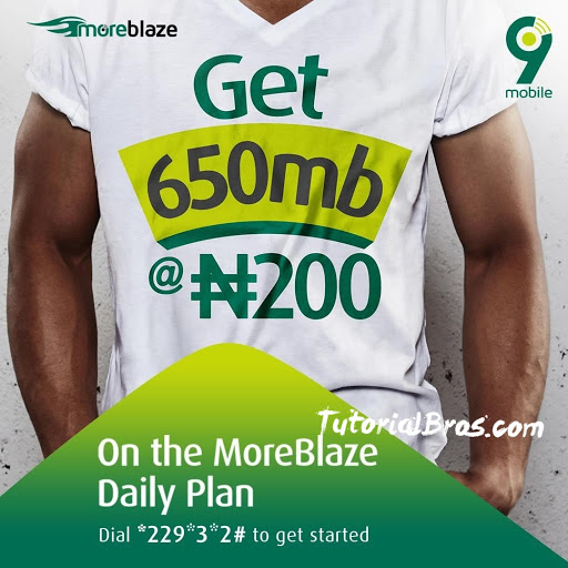 Yes, you heard me, you can't afford to miss this amazing 9mobile moreblaze offer that gives you a whoospin 650mb for N200.
