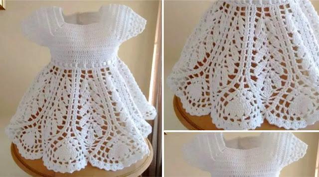 Cómo Tejer un Hermoso Vestido de Bebé a Crochet 3 a 6 Meses
