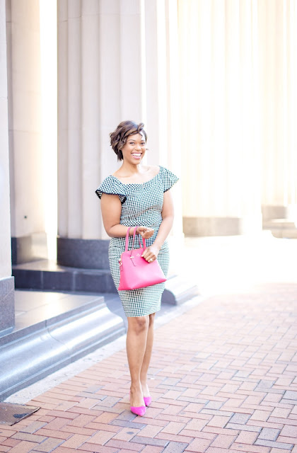 Work Approved Gingham Print Dress under $50