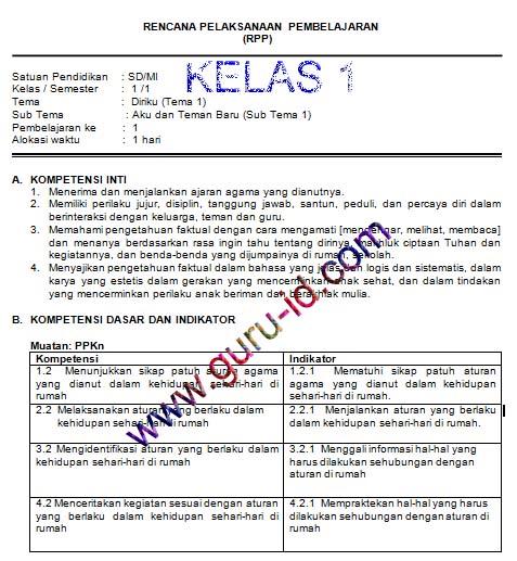 GAMBAR RPP K13 SD KELAS 1