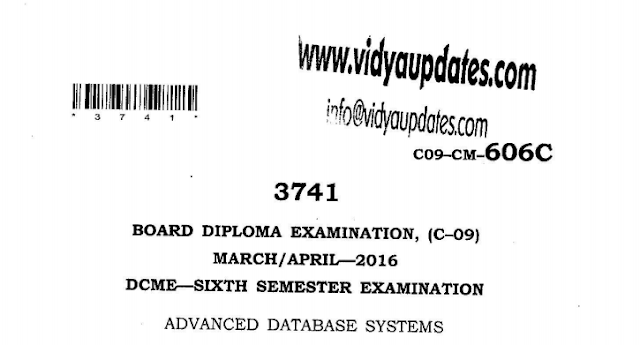 SBTET AP C-09 ADVANCED DATABASE SYSTEMS PREVIOUS QUESTION PAPER MARCH-APRIL 2016