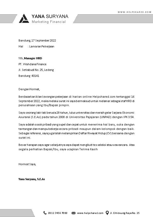Contoh Surat Lamaran Kerja 11