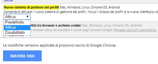 Chrome attivare Nuovo sistema di gestione dei profili