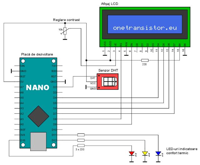 Schema calculator indice temperatura umezeala cu Arduino si DHT22