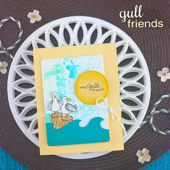 Seagull Card by Jennifer Jackson | Gull Friends Stamp Set and Sea Borders Die Set by Newton's Nook Designs #newtonsnook #handmade