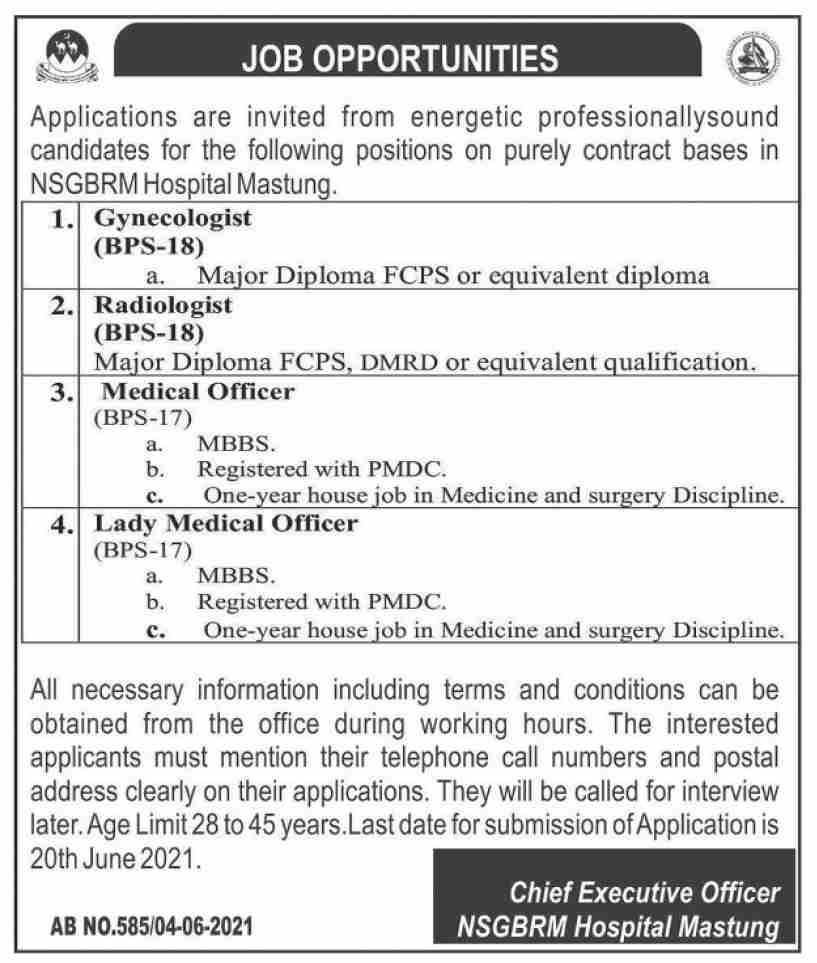 Nawab Shaheed Ghous Bakhsh Raisani Memorial Hospital Mastung (NSGBRM) Jobs 2021 in Pakistan