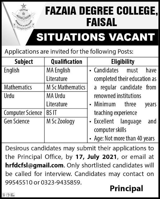 Fazaia Degree College Jobs 2021 – Latest Jobs in Pakistan 2021