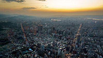 City, Aerial view, Metropole, Sunset, Vista Aérea