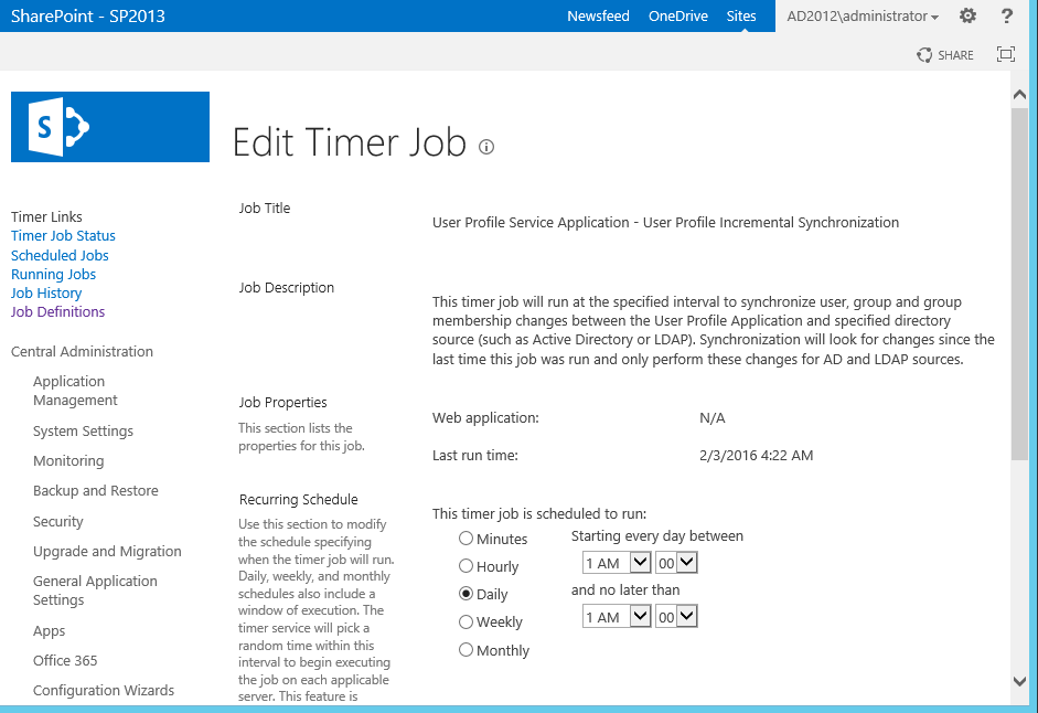 Schedule SharePoint User Profile Synchronization using PowerShell