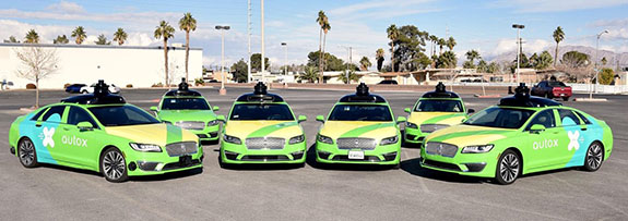 A fleet of self-driving vehicles for autonomous Chinese startup AutoX.