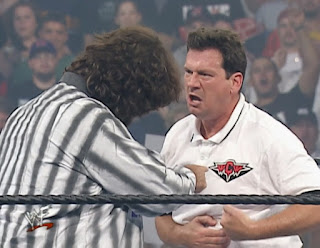 WWE / WWF Invasion 2001 PPV - Nick Patrick argues with Mick Foley