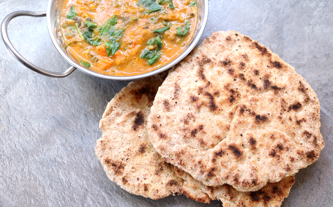 Wholemeal Spelt & Fennel Seed Flatbreads / Naans (Vegan / Dairy-Free recipe)