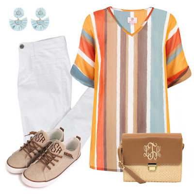 striped tunic outfit with jeans and sneakers