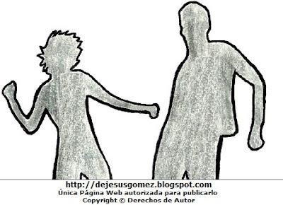 Dibujo de silueta de pareja bailando por Jesus Gómez