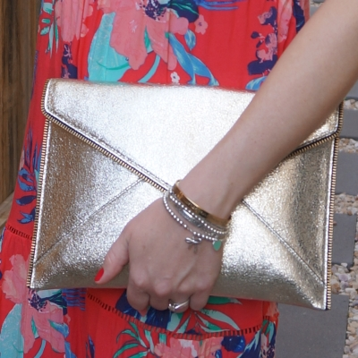 floral maxi dress with Rebecca Minkoff Leo envelope clutch in champagne gold  | awayfromtheblue