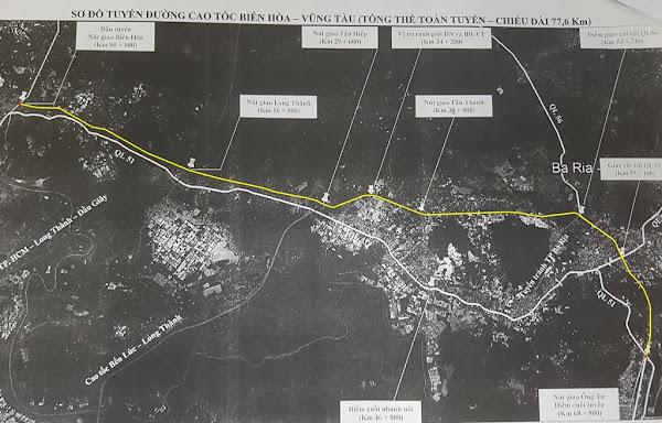 sơ đồ đường đi của tuyến cao tốc biên hòa - vũng tàu , giúp phát triển mạnh mẽ hạ tầng giao thông khu vực biển hồ tràm , long hải, vũng tàu