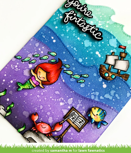 You're Fintastic Card by Samantha Mann for Lawn Fawnatics Challenge, Lawn Fawn, Cards, Card Making, Distress Inks, Under the Sea, the Little Mermaid, Zig Markers, #lawnfawn #lawnfawnatics #distressinks #inkblending #littlemermaid #underthesea