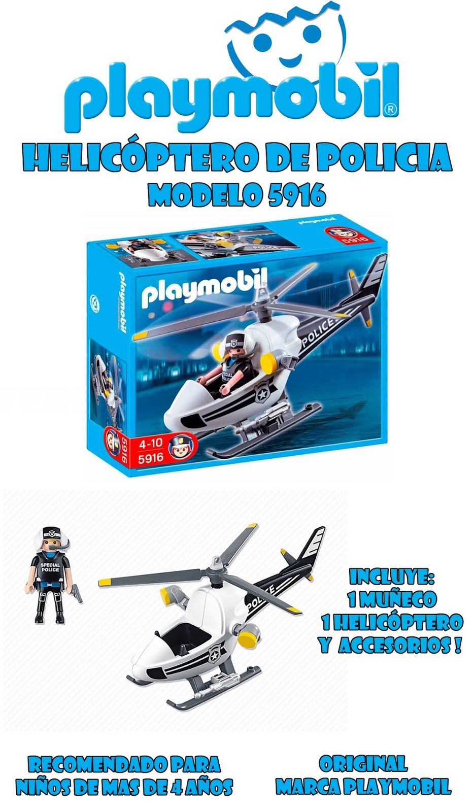 Jugueter a le n playmobil 5916 helic ptero de policia for Helicoptero playmobil
