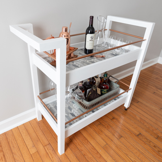 DIY Bar Cart - Free Plans by Handmade Weekly featured at Pieced Pastimes