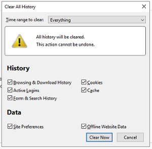 Clean all history firefox browser