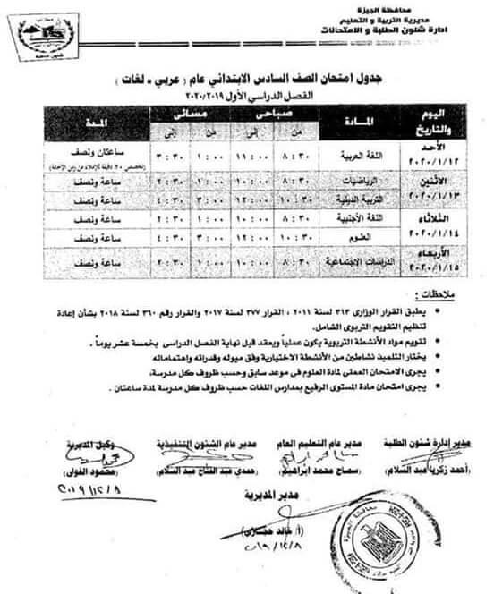 جدول إمتحانات الصف السادس الابتدائي