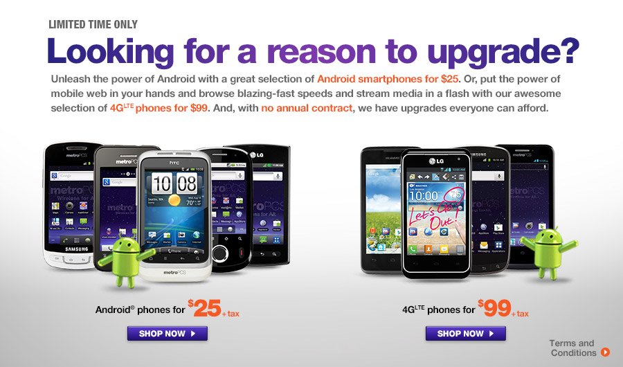 Metropcs Cdma Clearance 25 Android And 99 Lte Phones