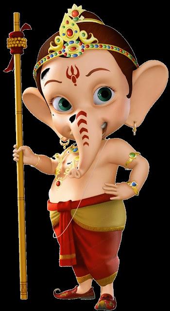 Ganesh ji hath me stick ke sath