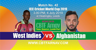 42nd Match Afghanistan vs West Indies ICC Cricket World Cup 2019 Today Match Prediction
