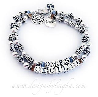 Owen and Cecilia Birthstone Mothers Bracelet (November and December birthstone crystals) with Mommy Charms