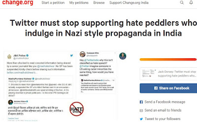 Petition asks Twitter to stop hate peddlers involved in Nazi style propaganda and spreading fake news in India