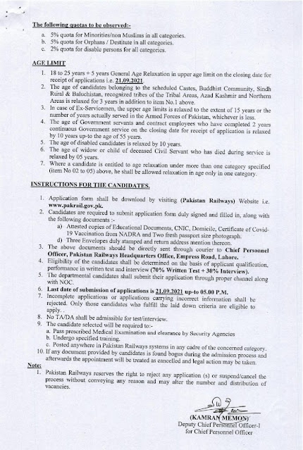 Latest Today jobs-Pakistan Railways Job in Pakistan 2021