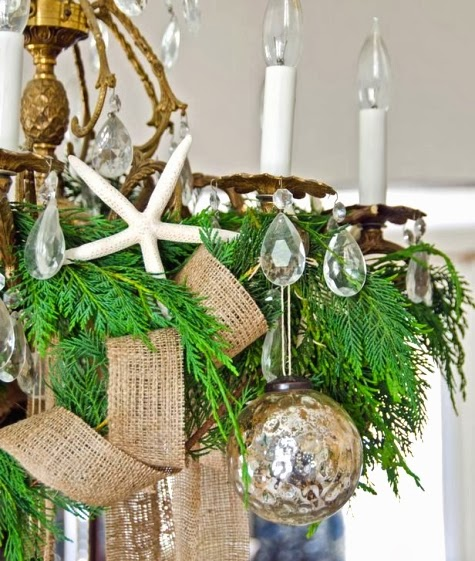 Christmas chandelier beach themed