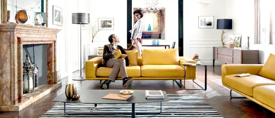 musztardowa sofa natuzzi