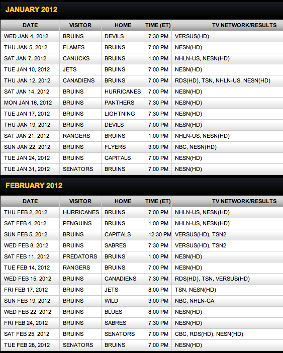 2011/2012 Boston Bruins Schedule