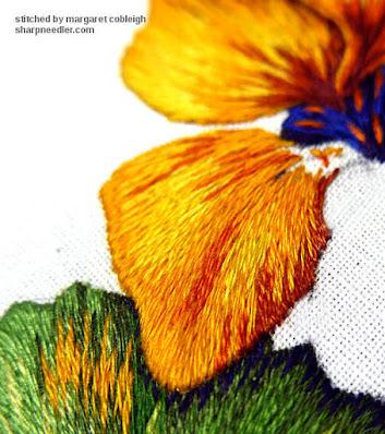 Third thread painted nasturtium petal almost done. (Catherine Laurencon Capucines (Inspirations))